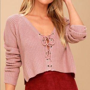 Lulu's cropped knit sweater Top SZ S